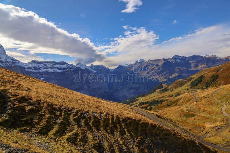 View of snow alp mountain landscape in autumn nature at swiss stock images