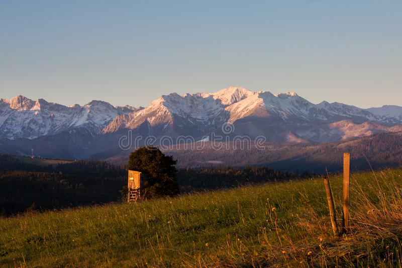 View of the Tatras from the village of Łapszanka. royalty free stock photos