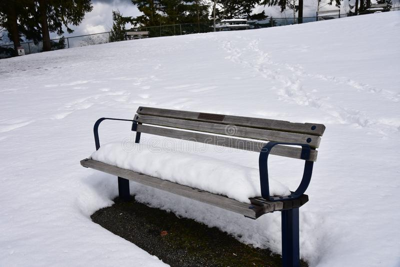 A view of a snow covered bench. royalty free stock images