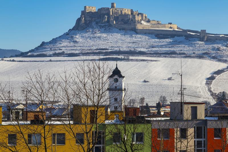 Spis Castle and Spisske Podhradie, Slovakia. History and modernity. View of the snow-covered Spis Castle Spissky hrad , the largest castle in Slovakia from the royalty free stock photo