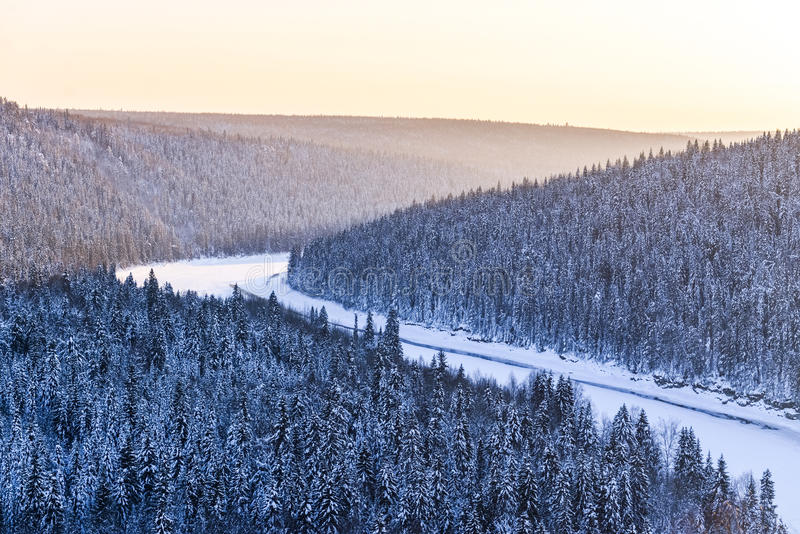 View of snow-covered winter forest in time sundown royalty free stock photo