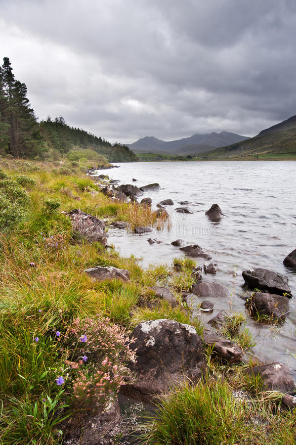 View Of Snowdon From Llyn Mymbyr In Snowdonia Stock Photos