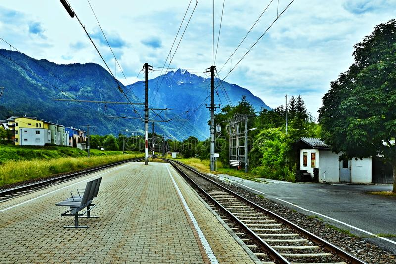 Austrian Alps-view on the railway station in Oberdrauburg stock photography