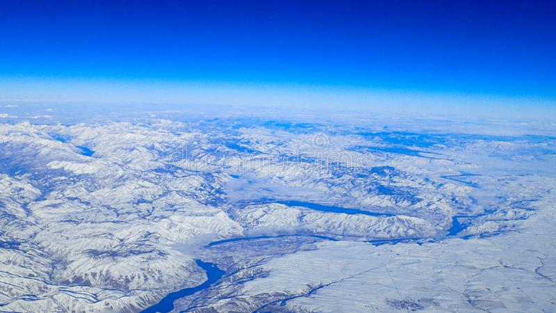 View of the snowy Pacific northwest royalty free stock photo