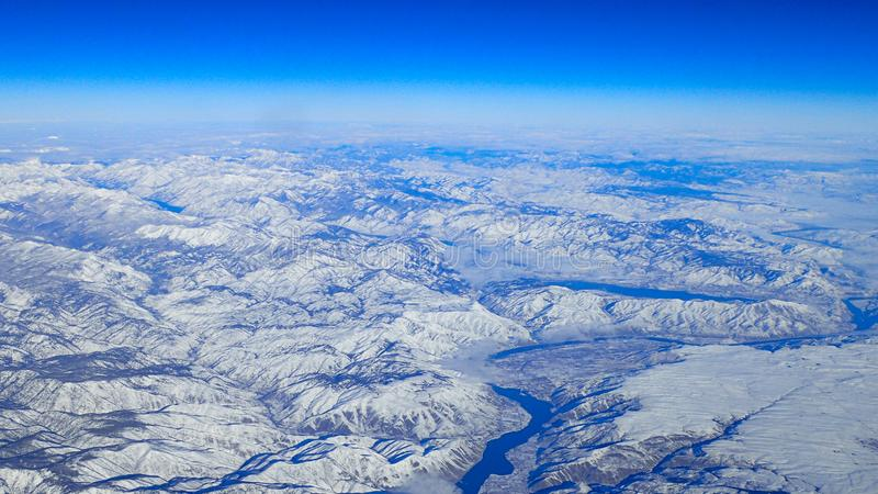 Aerial view of the snowy Pacific northwest Columbia River Gorge stock photo