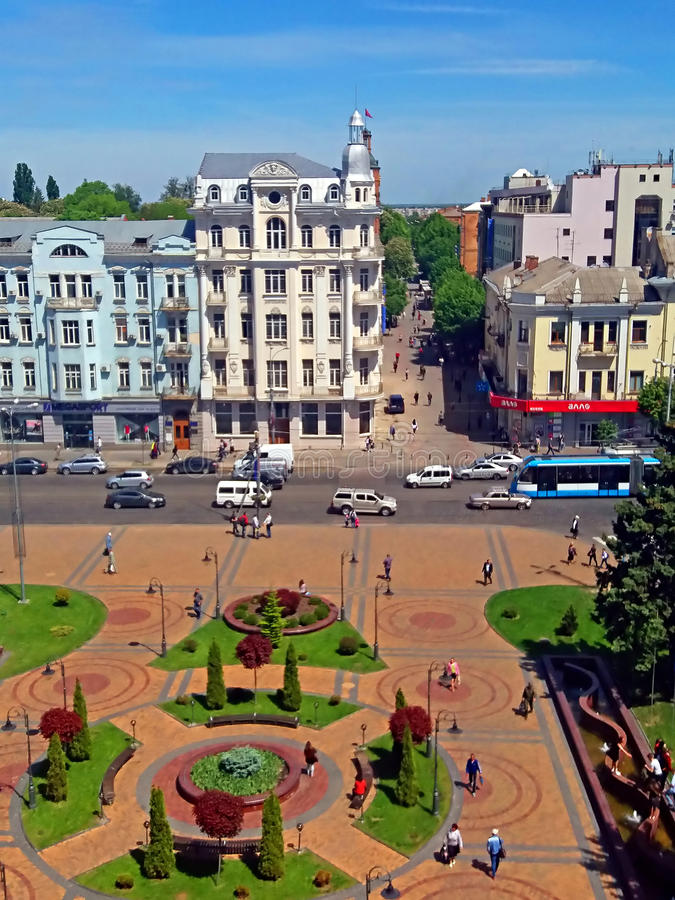 View of Soborna square, Vinnytsia, Ukraine. View of Soborna square and former hotel `Savoy` 1912, now it is the hotel `Ukraine`, Vinnytsia, Ukraine stock images