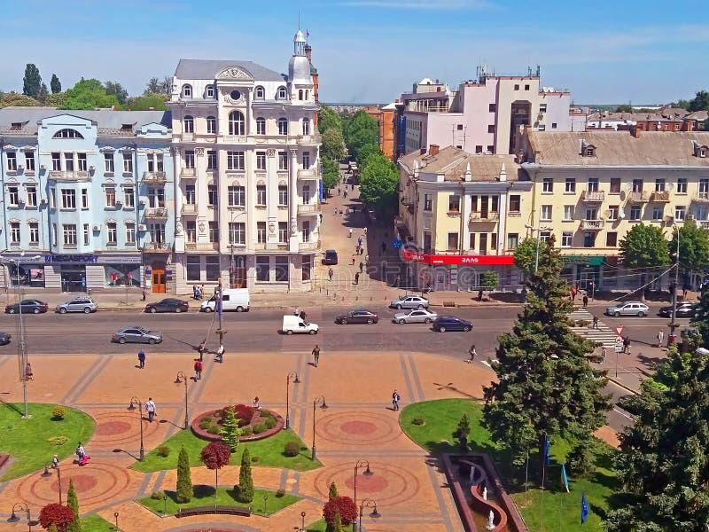View of Soborna square, Vinnytsia, Ukraine. View of Soborna square and former hotel `Savoy` 1912, now it is the hotel `Ukraine`, Vinnytsia, Ukraine royalty free stock photo