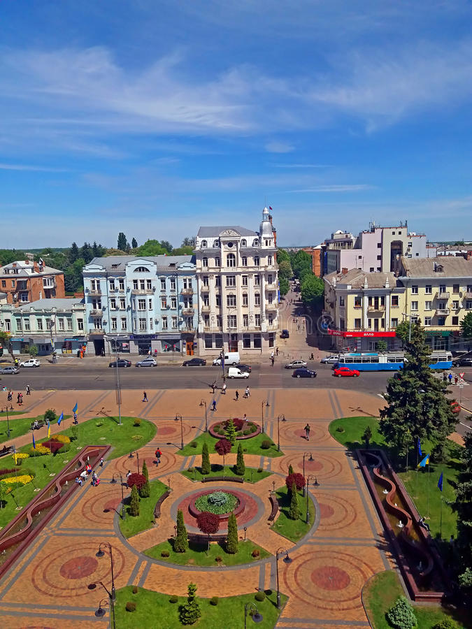 View of Soborna square, Vinnytsia, Ukraine. View of Soborna square and former hotel `Savoy` 1912, now it is the hotel `Ukraine`, Vinnytsia, Ukraine stock photos