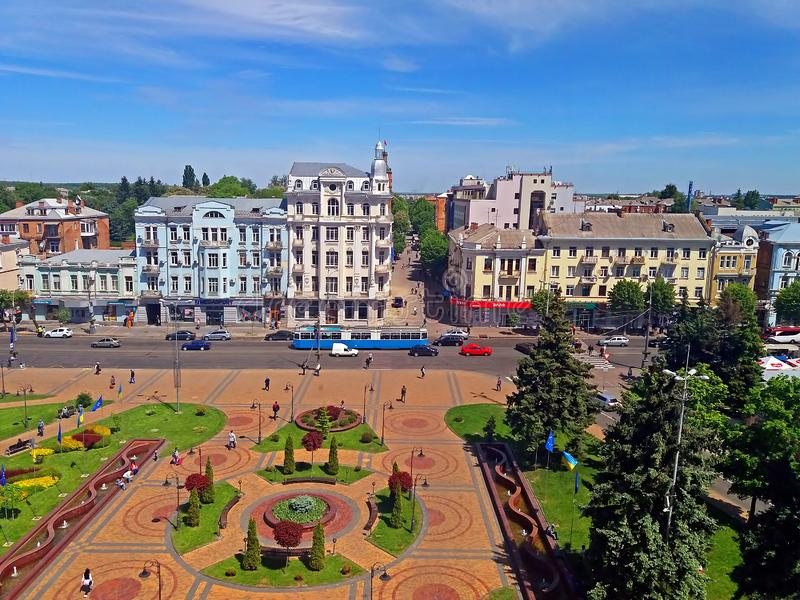 View of Soborna square, Vinnytsia, Ukraine. View of Soborna square and former hotel `Savoy` 1912, now it is the hotel `Ukraine`, Vinnytsia, Ukraine stock image