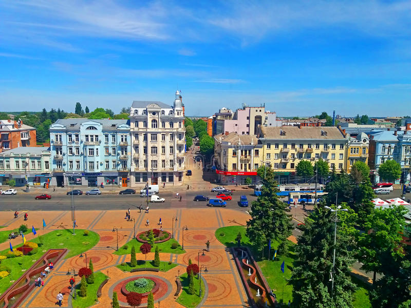 View of Soborna square, Vinnytsia, Ukraine. View of Soborna square and former hotel `Savoy` 1912, now it is the hotel `Ukraine`, Vinnytsia, Ukraine stock photography