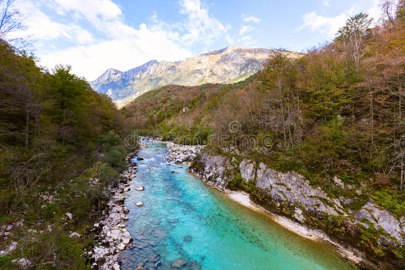 View of Soca river in Slovenia. Europe royalty free stock photo