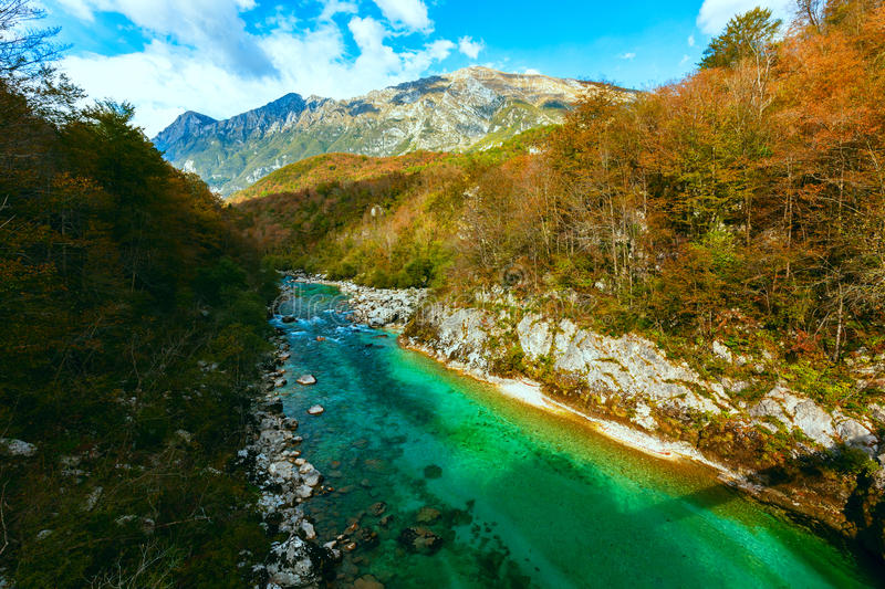 View of Soca river in Slovenia. Europe royalty free stock image
