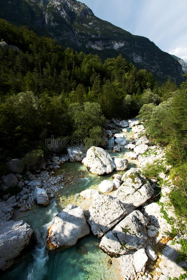 View of Soca River in Triglav National Park. Slovenia royalty free stock images