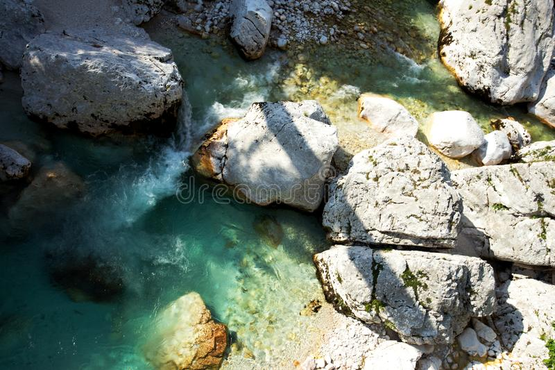 View of Soca River in Triglav National Park. Slovenia royalty free stock photography