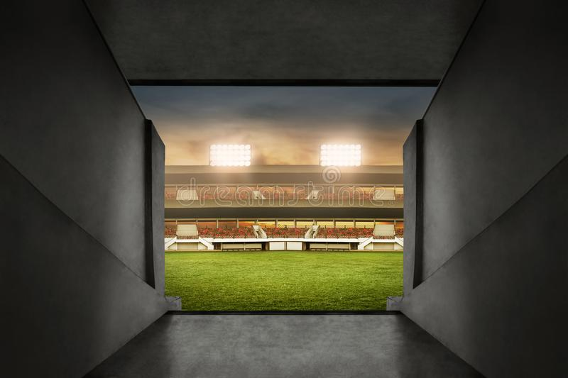 View of soccer stadium entrance stock photo