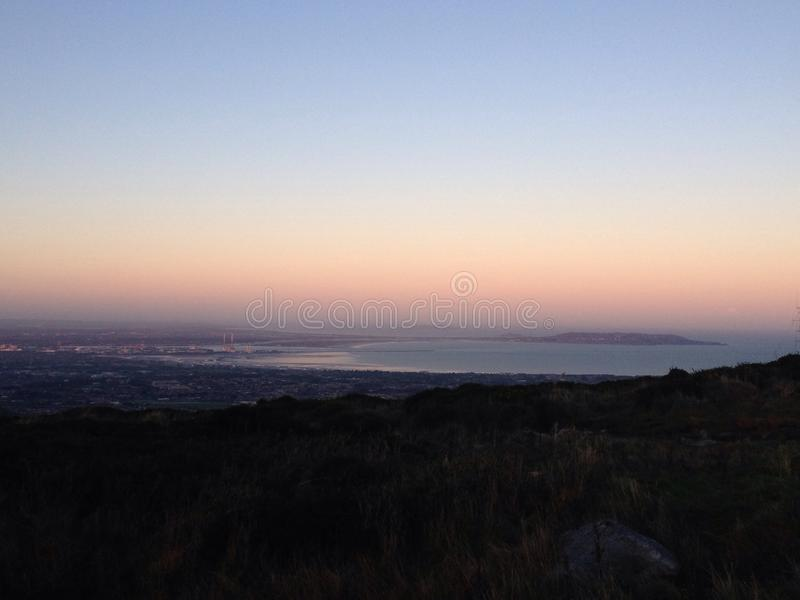 View sod Dublin bay. This is a sunset view of Dublin bay with the two iconic royalty free stock photos