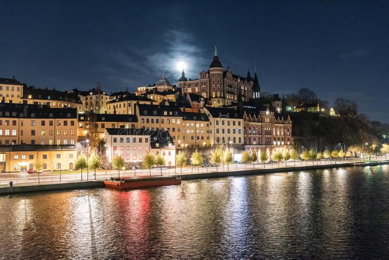 View of Sodermalm waterfront in Stockholm, Sweden. At night royalty free stock image