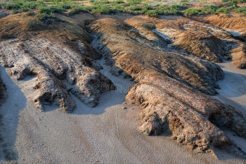 View of soil erosion near saline lake Baskunchak, Russia. Uneven ground near saline lake Baskunchak in Astrakhan region, Russia royalty free stock images