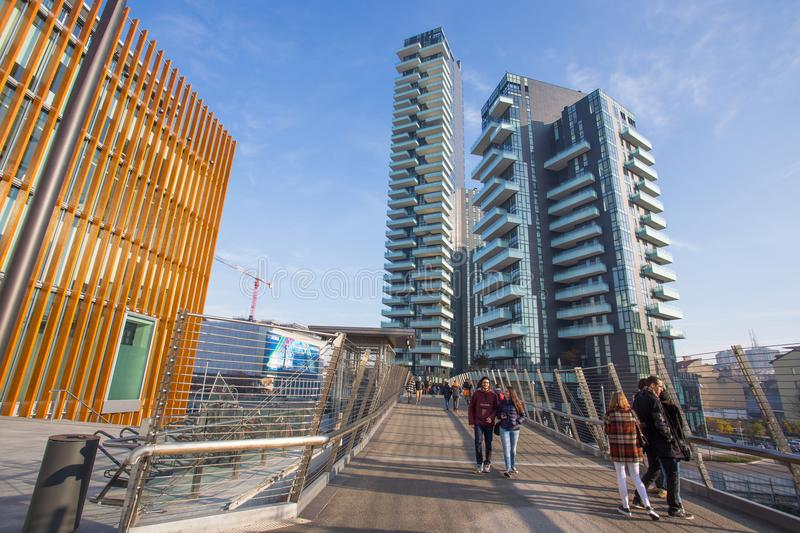 View of Solaria, Solea and Aria Towers, inside `Porta Nuova` Area near Garibaldi train station in Milan Milano, Italy. View of Solaria, Solea and Aria Towers royalty free stock image