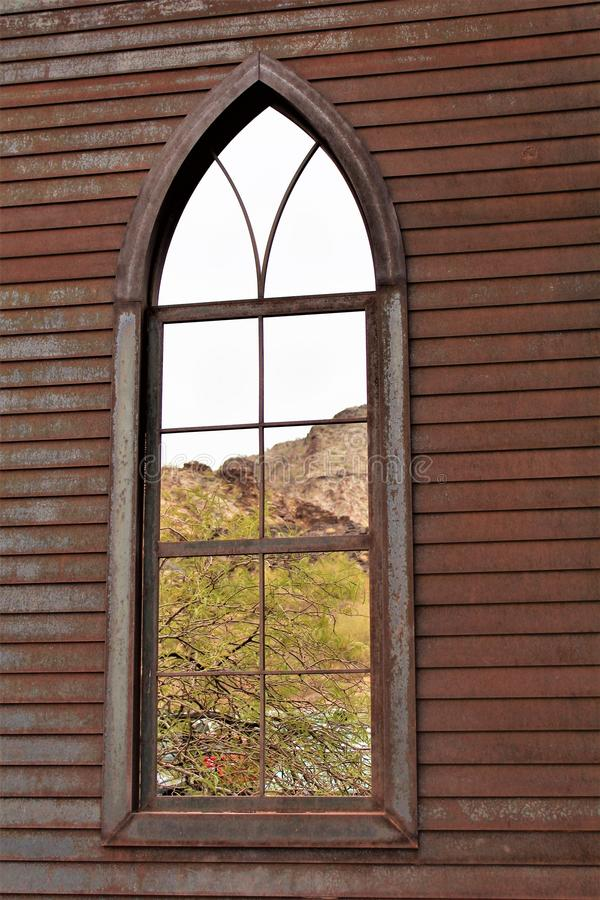 The Desert Bar, Parker, Arizona, United States. View of the solid steel church with tin stamped inside and copper roof at The Desert Bar, situated in the stock photos
