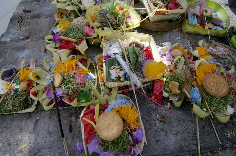 View of some Canang Sari Balinese offerings stock images