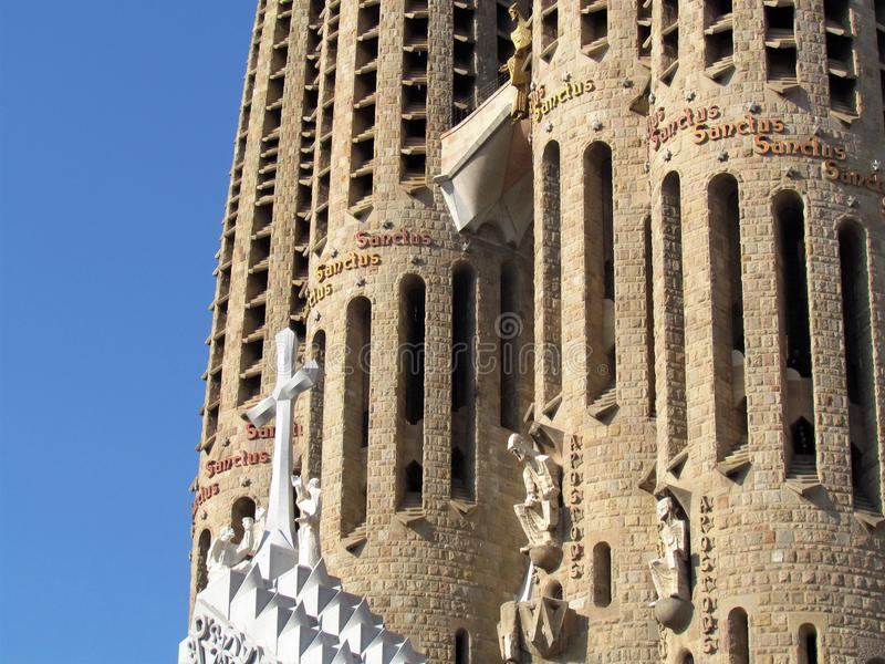 Details of Sagrada Familia, the cathedral of Barcelona, the Masterpiece designed by Antony Gaudi royalty free stock image