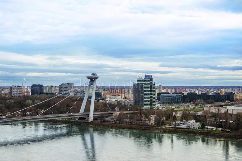 View of the SOR bridge over the Danube River in the city of Bratislava, the capital of Slovakia royalty free stock photo