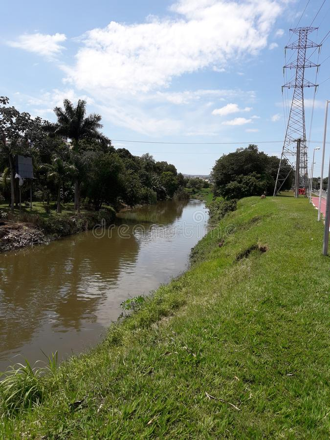 The view of Sorocaba River, an important river in the state of Sao Paulo, in Brazil royalty free stock photo