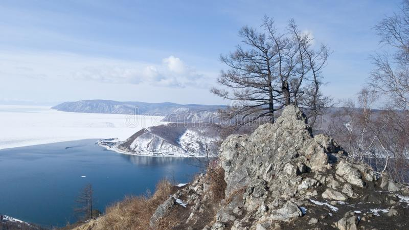 View of the source of the Angara river from lake Baikal from the observation deck at the stone Chersky. A journey to Siberia stock image