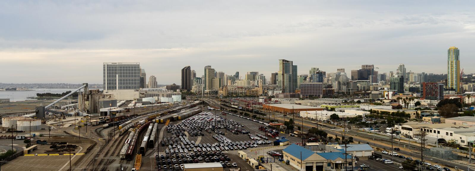 Railroad Yard Depot San Diego Waterfront Downtown City Skyline. View from the south end of the buildings and infrastructure buildings of San Diego at dusk stock photography