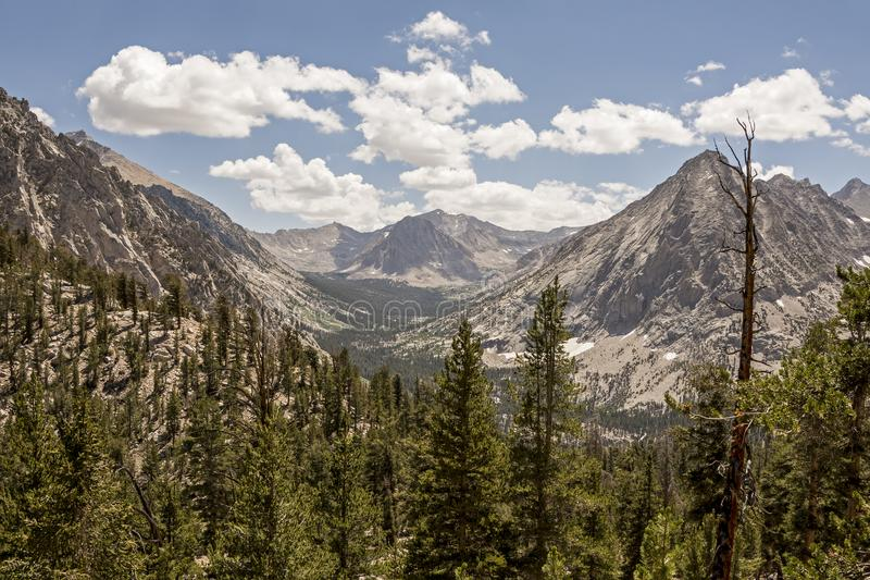 Bubbs Creek Canyon, Kings Canyon National Park, California. The view South up Bubbs Creek Canyon toward Forester Pass on the John Muir Trail, Kings Canyon royalty free stock images