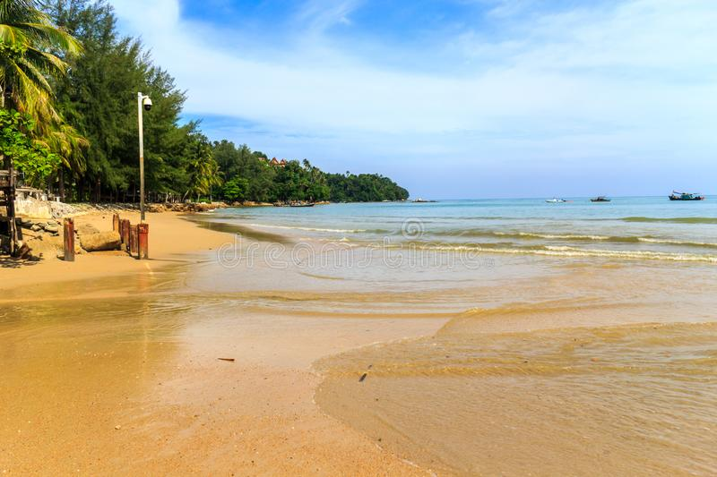 View of the southern end of Bang Tao beach. Phuket, Thailand stock images