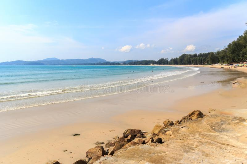 View of the southern end of Bang Tao beach. Phuket, Thailand royalty free stock images
