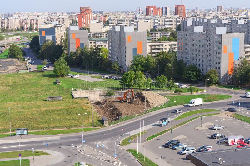 View of soviet residential high-rise buildings in Lasnamae district in Tallinn stock photo