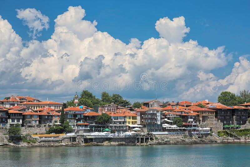 View of Sozopol Old Town with Southern Fortress Wall and Tower, Bulgarije royalty-vrije stock afbeelding