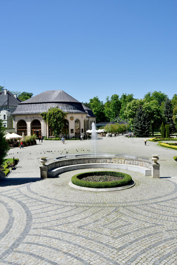 View of Spa House in park of town Kudowa Zdroj on May 20, 2014. Kudowa Zdroj is one of the oldest spa resorts in Europe and was built in 16th century stock images
