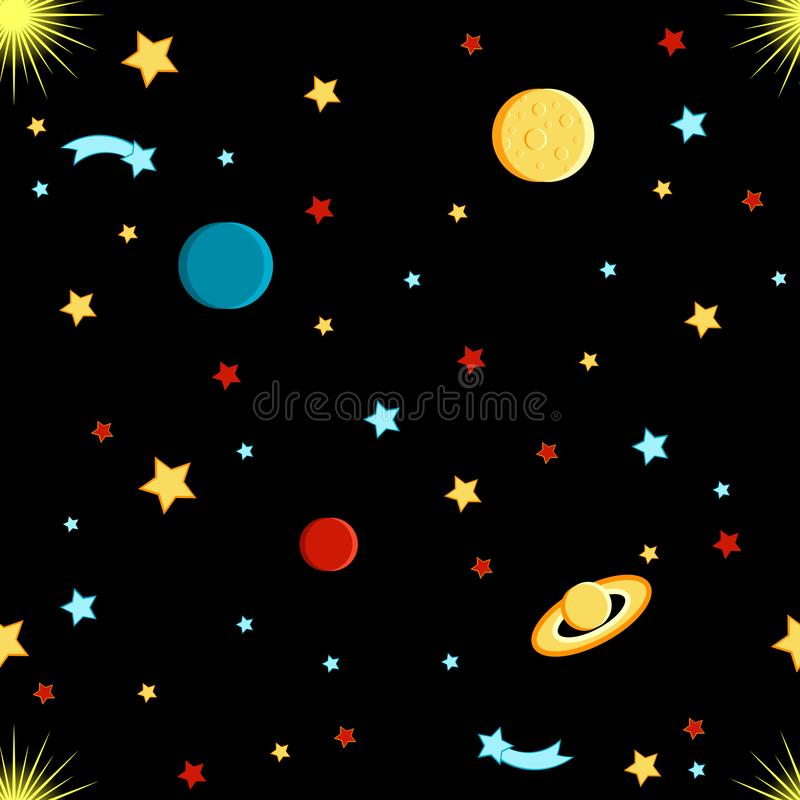 View of space. Moon, Sun, Saturn, Earth, other planets, stars comets space Seamless pattern. View of space. Moon, Sun, Saturn, Earth, other planets, stars comets vector illustration