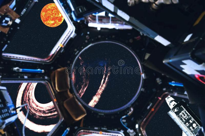 View of space shuttle and Solar system planets from space station. View of space shuttle and Sun of Solar system near black hole from space station. Outer space royalty free stock photo