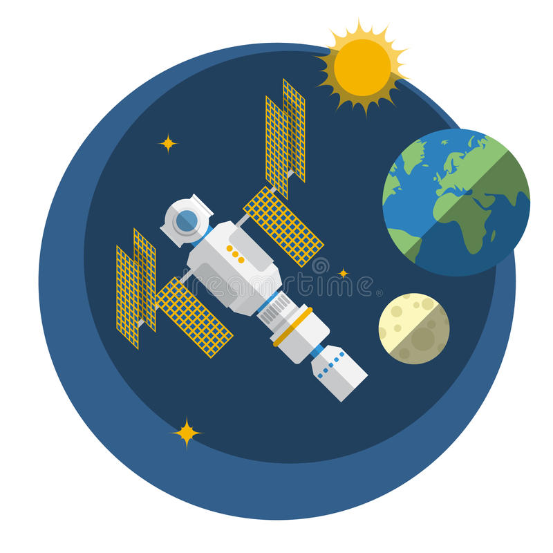 View of space station, sun, Earth and Moon. stock illustration