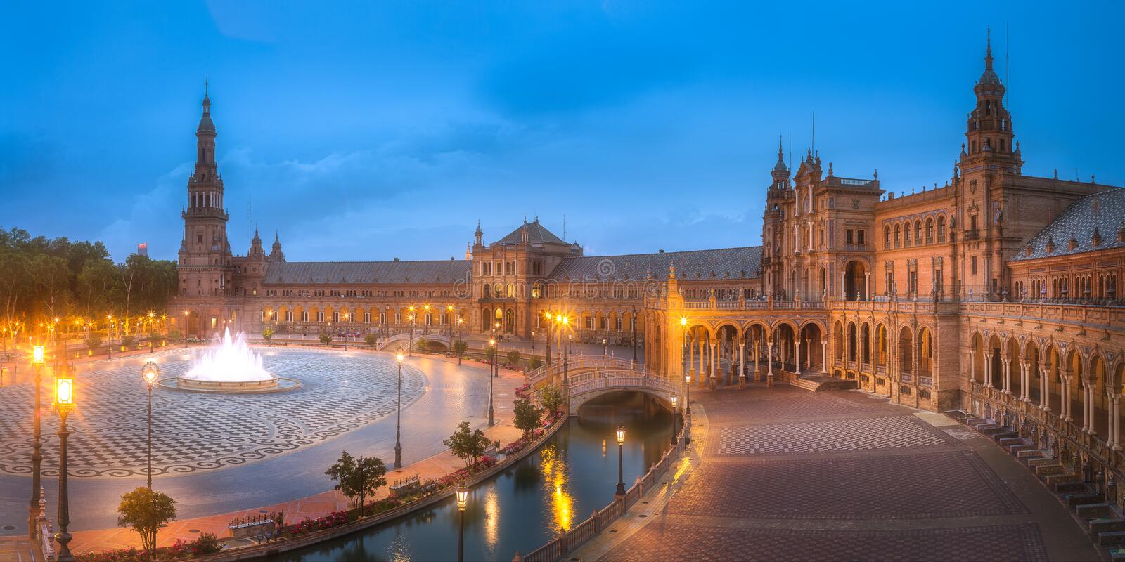 Download View Of Spain Square On Sunset, Seville Stock Photo - Image of mosaic, marble: 109348612