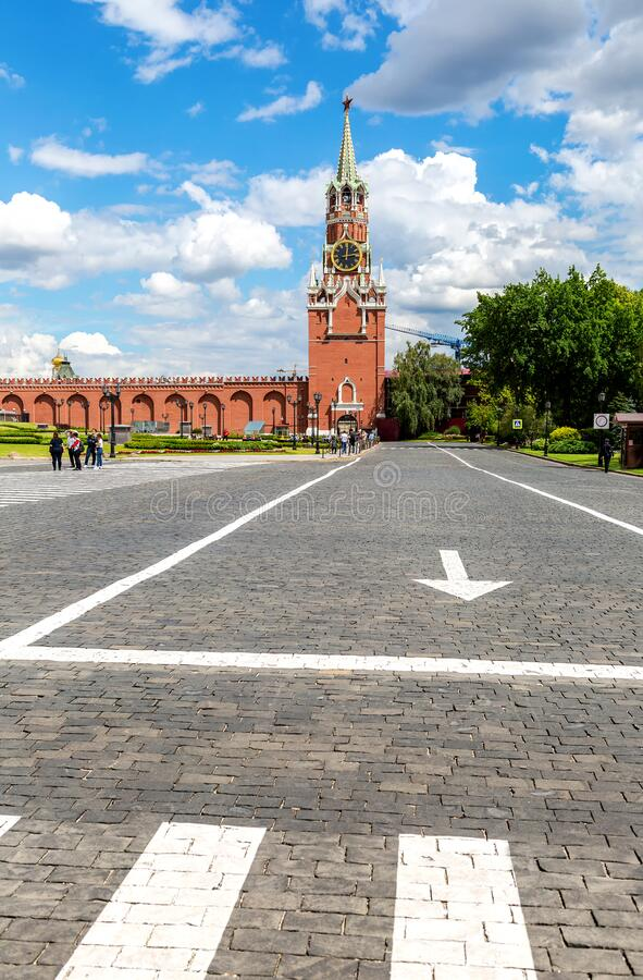 View of the Spasskaya Tower from the Moscow Kremlin royalty free stock photography