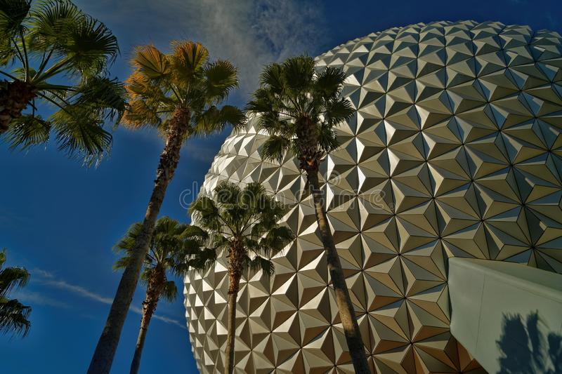 The sphere Spaceship Earth attraction at Epcot in Walt Disney World stock photography