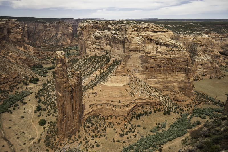 View of the Spider Rock in the Canyon de Chelly National Monument - horizontal stock photography