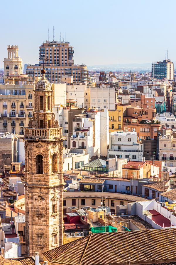 View of the spire of Iglesia Santa Catalina, Valencia, Spain royalty free stock images