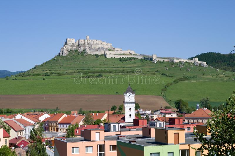 View of Spis castle and Spisske Podhradie, Slovakia. View of Spis castle and Spisske Podhradie in Slovakia royalty free stock images