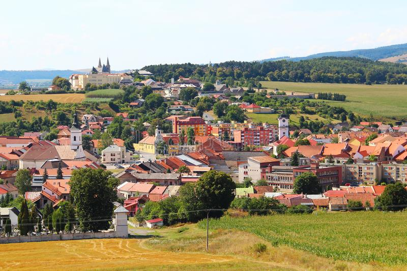 Spisske Podhradie, Slovakia. View on Spisske Podhradie town from Spis Castle, Presov region, Slovakia royalty free stock images