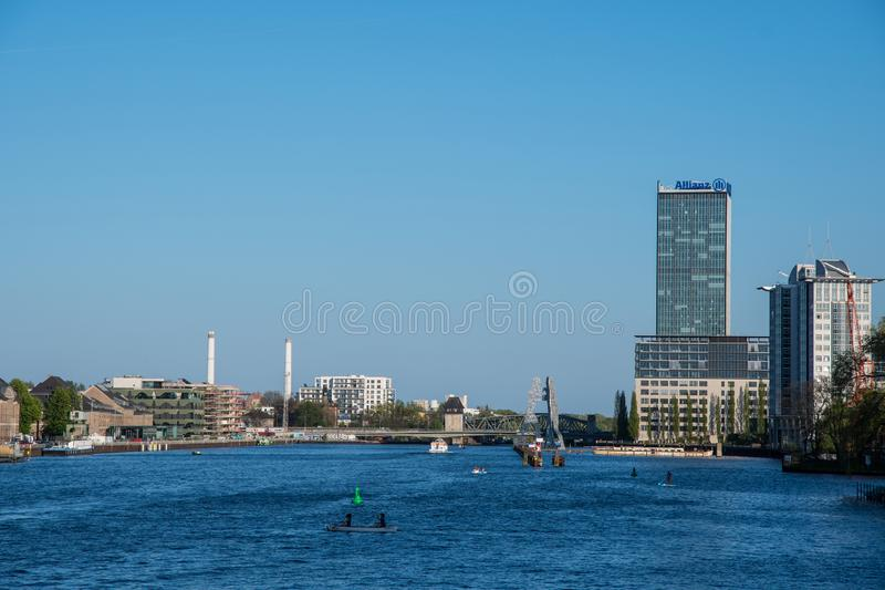 View of the Spree river in city of Berlin in Germany royalty free stock photography