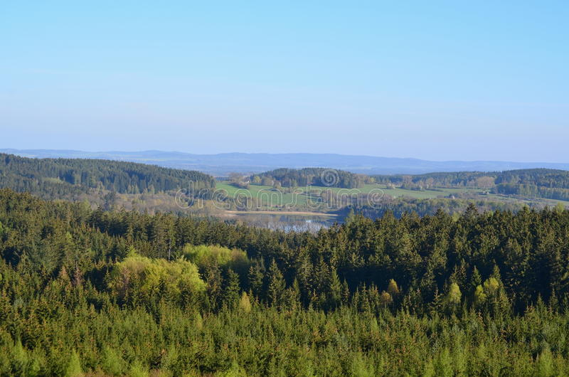 View of the spring countryside, South Bohemia stock images