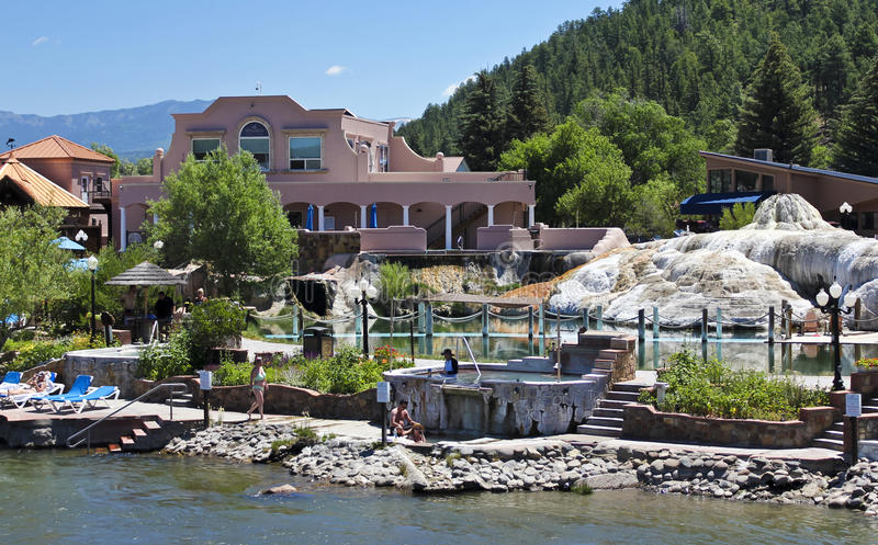 A View of The Springs Resort & Spa. PAGOSA SPRINGS, COLORADO, JUNE 23. The Springs Resort & Spa on June 23, 2017, in Pagosa Springs, Colorado. A View of The royalty free stock image