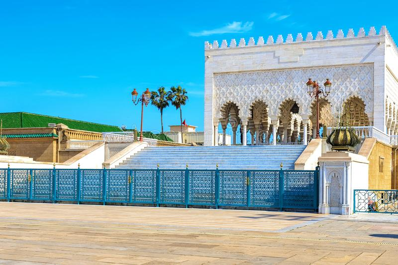 View of the square with ruins and the Hassan tower against the blue sky. Rabat, Morocco royalty free stock photos